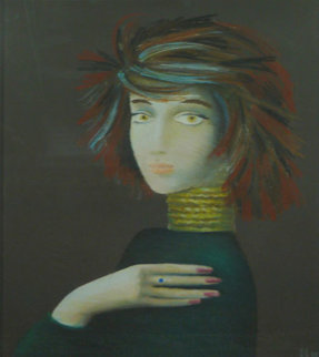 Portrait of a Stranger 1988 31x36 Original Painting - Alexander Anufriev