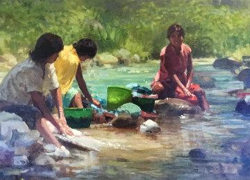 Sombra Y Trabajo 1980 36x21 Original Painting - Joseph Abbrescia