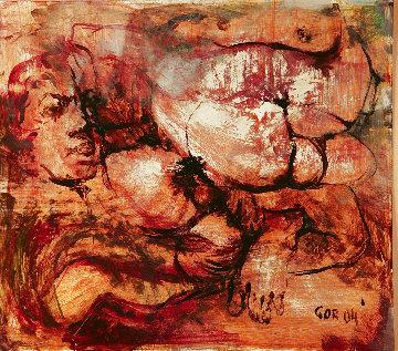 Untitled Painting 2004 14x15 Original Painting - Gor  Abrahamyan