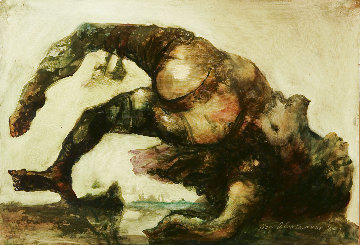 Untitled Painting 2004 13x19 Original Painting - Gor  Abrahamyan