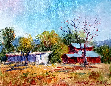 Old Tom MIX Barn Used By Fox Studios 1923 16x18 Original Painting - Ben Abril