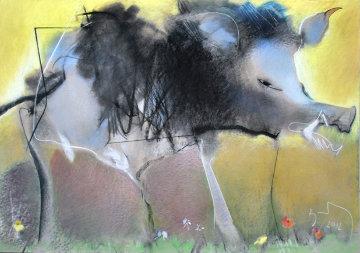 Wild Pig 2012 27x39 Original Painting - Vano Abuladze