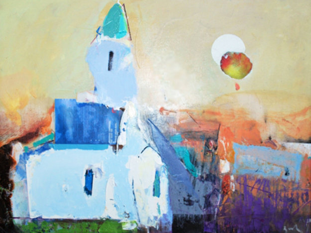 White Church 2013 22x32 Original Painting by Vano Abuladze