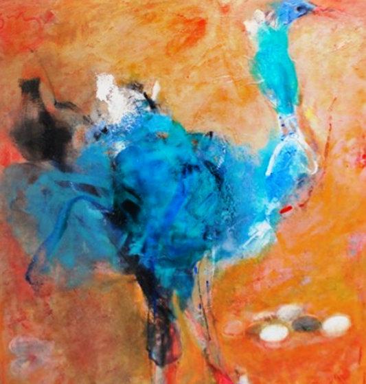 Ostrich 2013 39x31 Original Painting by Vano Abuladze