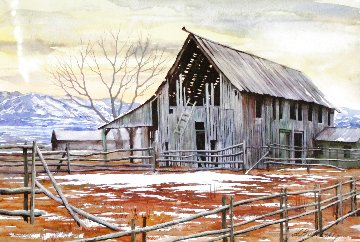 Old Barn Watercolor 2003 20x25 Watercolor - Alexei  Butirskiy