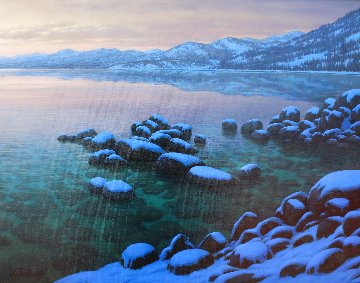 Tranquility - Lake Tahoe 2008 33x39 Original Painting - Alexei  Butirskiy