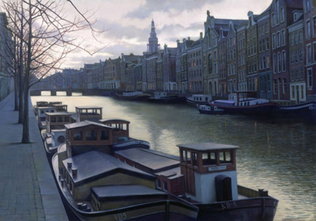 Canal At Twilight 2003 Embellished Limited Edition Print by Alexei  Butirskiy