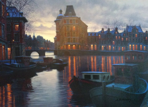 Canal At Dusk 2005 Embellished Limited Edition Print by Alexei  Butirskiy