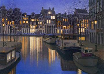 Still Water ( Amsterdam) 2005 27x39 Huge Original Painting - Alexei  Butirskiy