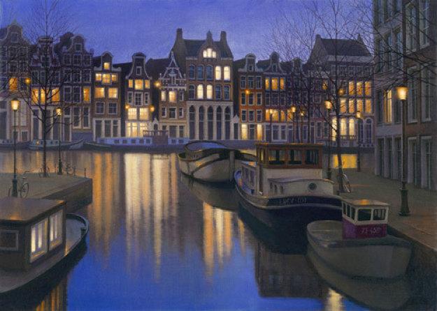 Still Water ( Amsterdam) 2005 27x39 Original Painting by Alexei  Butirskiy