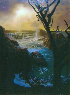 Sunset At Pinnacle Rock 1988 36x24 Original Painting by Loren D Adams