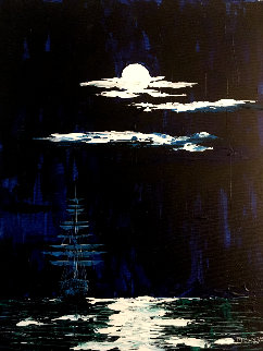 Full Moon 14x8 Original Painting by Adeline Josephine Cumpata