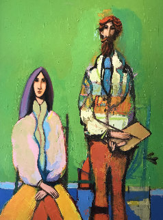 Man With Paint Brush And Palette With Seated Woman 1980 39x51 Original Painting - David Adickes