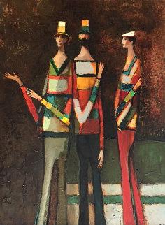 Three Figures 1982 34x44 Original Painting by David Adickes