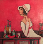 Celeste At Red Table 2007 Original Painting - David Adickes