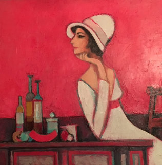 Celeste At Red Table 2007 32x42 Original Painting - David Adickes