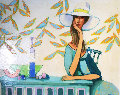 Lady in White Hat 1972 46x36 Original Painting - David Adickes