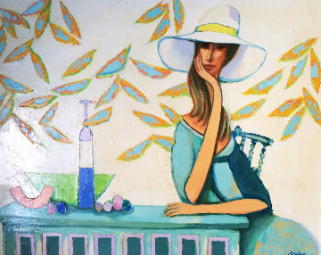 Lady in White Hat 1972 46x36 Original Painting - David Adickes