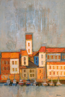 Port Scene in Blues And Orange 1968 35x47 Super Huge Original Painting - David Adickes