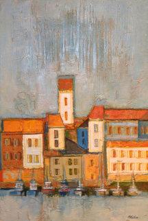 Port Scene in Blues And Orange 1968 35x47 Original Painting by David Adickes