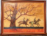 Two Horsemen Rustic Ride 1980 30x40 Super Huge Original Painting by David Adickes - 1