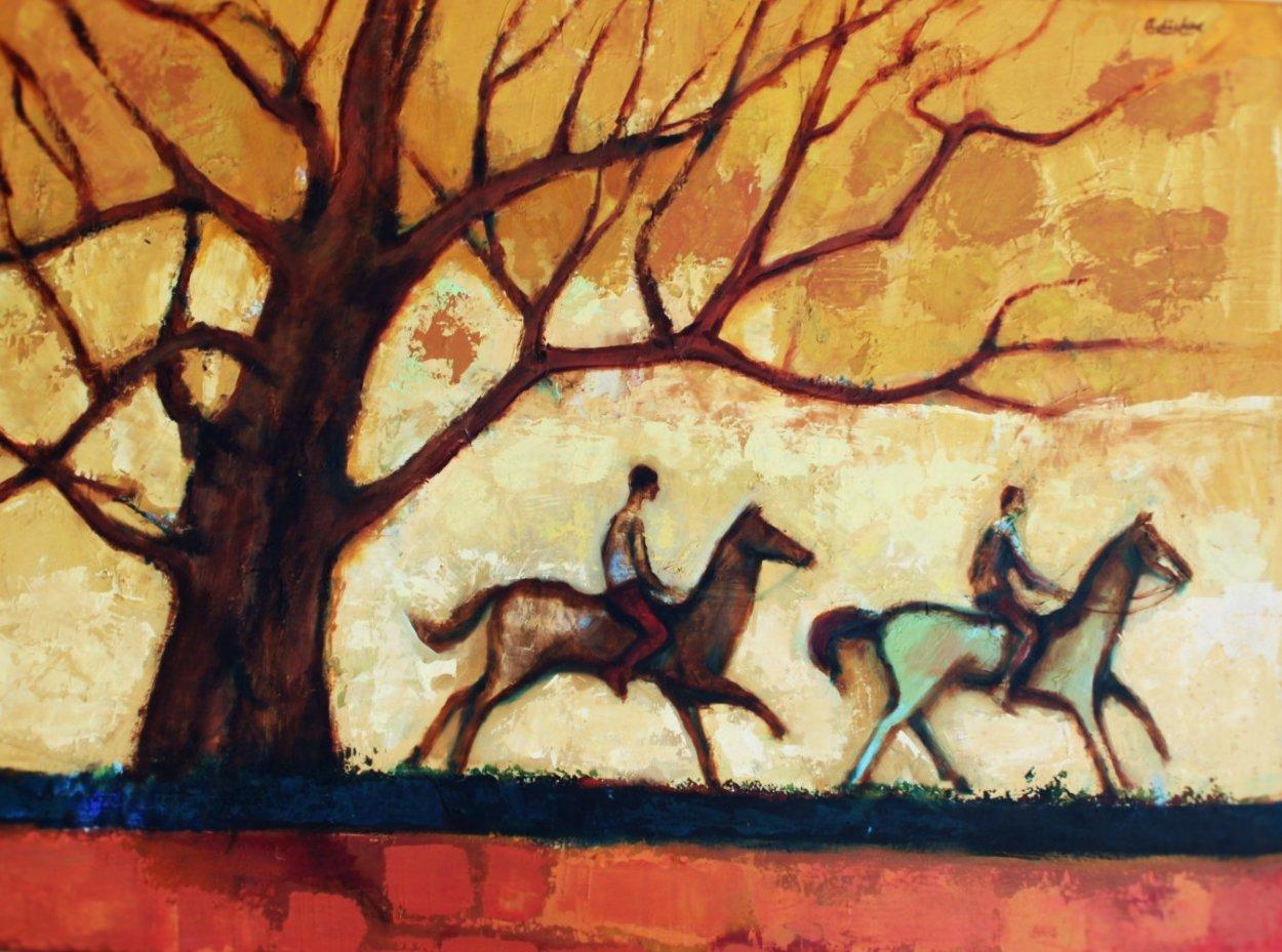 Two Horsemen Rustic Ride 1980 30x40 Super Huge Original Painting by David Adickes