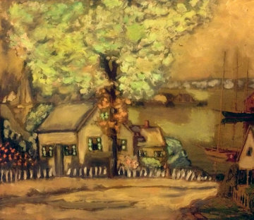 Fisherman's Cottage 1960 42x51 Original Painting - Camillo Adriani