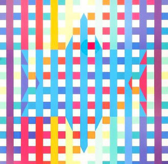 Op Art Lithograph Magen David Star 1980 Limited Edition Print - Yaacov Agam