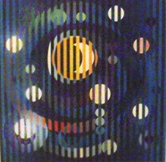 Sun and Moon Romance on Canvas 2007 Limited Edition Print - Yaacov Agam