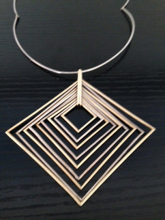 Elevation - 9 Squares Gold and Silver Necklace/Pendant Jewelry - Yaacov Agam
