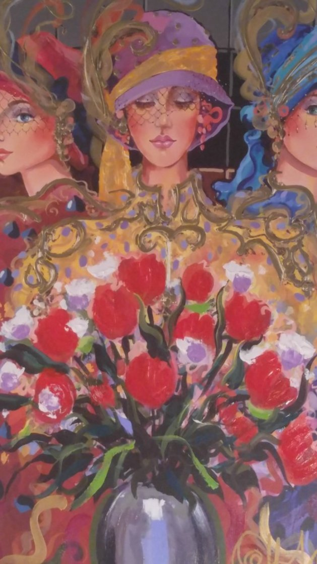 3 Ladies With Wildflowers 2004 Limited Edition Print by Otto Aguiar