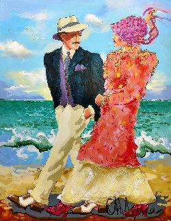 A Walk on the Beach 48x36 Original Painting - Otto Aguiar