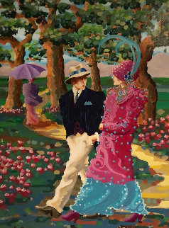 Walk in the Park 1991 70x53 Huge Original Painting - Otto Aguiar