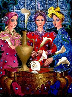 Calla Lilies 2004 40x34 Original Painting - Otto Aguiar