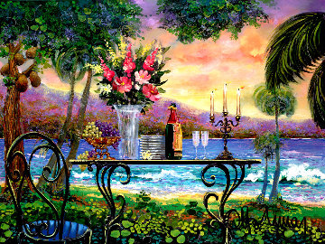 Dining By the Sea, Heavily Embellished 2005 29x38 Original Painting - Otto Aguiar