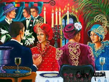 Fedora Cafe 1996 52x68 Original Painting - Otto Aguiar