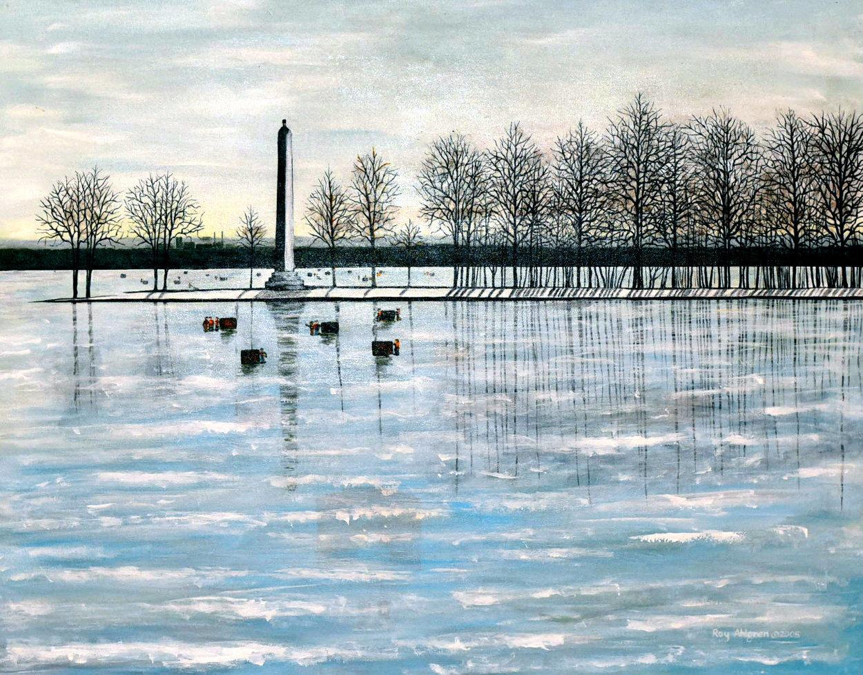 Misery Bay, Winter 2011 26x32 Pennsylvania Original Painting by Roy Ahlgren