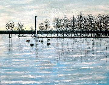 Misery Bay, Winter 2011 26x32 Pennsylvania Original Painting - Roy Ahlgren