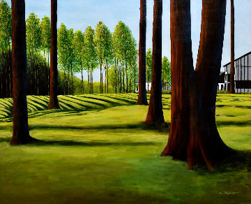 View From the 18th 2003 33x39 Huge Original Painting - Roy Ahlgren