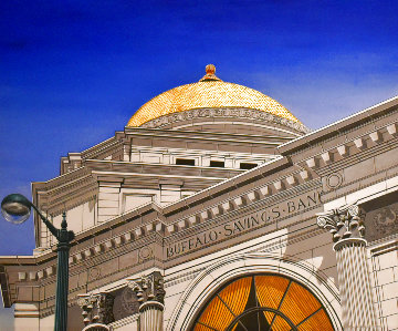 Gold Dome 1992 32x38 Buffalo New York Savings Bank Original Painting - Roy Ahlgren