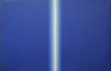 Blue Divide 1978 Cataloged Painting 36x48 Original Painting - Roy Ahlgren