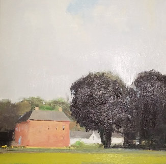 Enniscoe House, Black Trees 2001 25x25 Original Painting - Eric Aho
