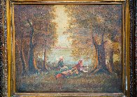 Girls Sit on River 1900 23x31 Original Painting by Paul Aizpiri - 2