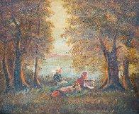 Girls Sit on River 1900 23x31 Original Painting by Paul Aizpiri - 1