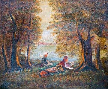 Girls Sit on River 1900 23x31 Original Painting - Paul Aizpiri
