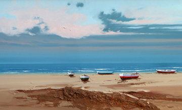 Beach 14x48 Original Painting - Fernando Alcaraz