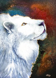 White Lion 2005 37x47 Super Huge Original Painting - Juergen Aldag