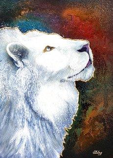 White Lion 2005 37x47  Huge Original Painting - Juergen Aldag