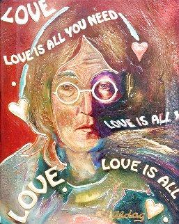John Lennon -Love is All You Need Original 1996 24x15 Original Painting - Juergen Aldag