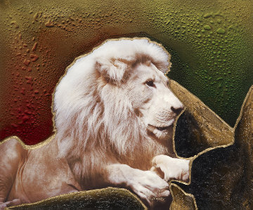 Lion 36x30 Original Painting - Juergen Aldag